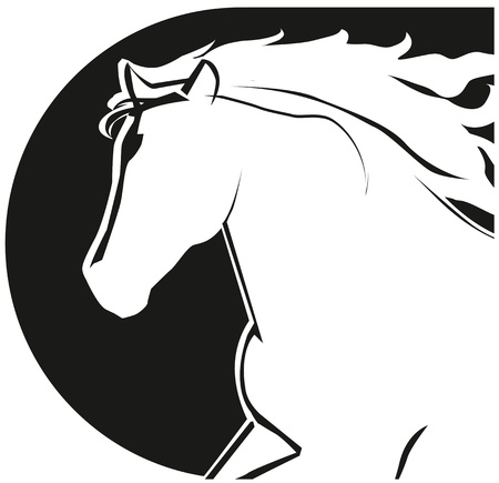 The stylized head of a black horse  Horse head icon  Vector
