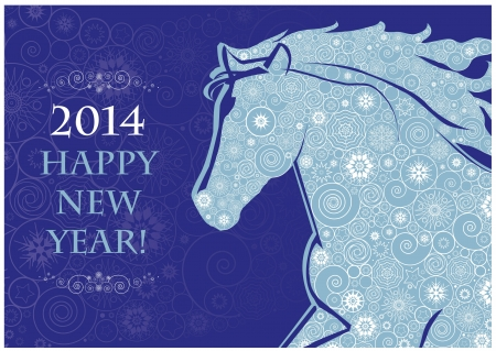 Horse head of Snowflakes  Running Horse on the blue background  Merry Christmas and Happy new year  Greeting card  Illustration