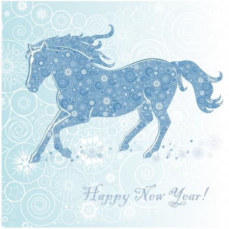 Ló hópelyhek Running Horse fehér alapon Kellemes Karácsonyi Ünnepeket és Boldog Új Évet üdvözlőlap