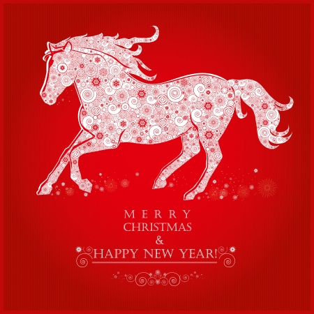 Running Horse on bright red background  Merry Christmas and Happy new year  Greeting card