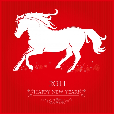 Running Horse on bright red background  Merry Christmas and Happy new year  Greeting card  Vector