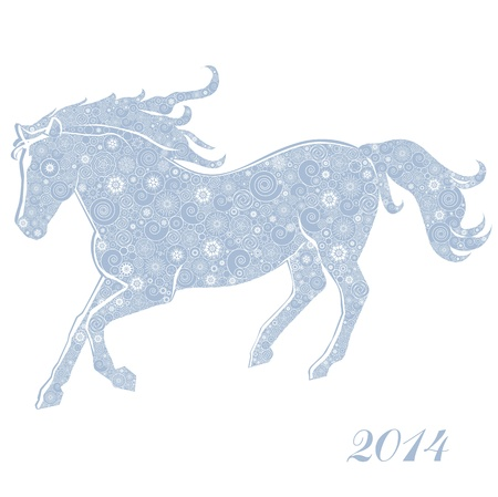 Horse of Snowflakes  Running Horse on white background  Merry Christmas and Happy new year  Greeting card  Illustration