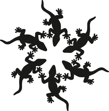 saurian: Black lizards silhouette isolated on white background