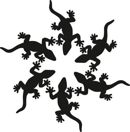 Fekete gyíkok sziluettje elszigetelt fehér háttér