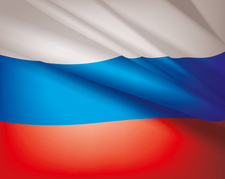 Waving flag of Russia, vector background Vectores