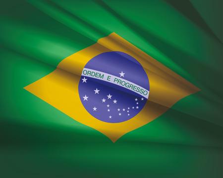 Brazil waving flag - beautiful background, vector illustration.