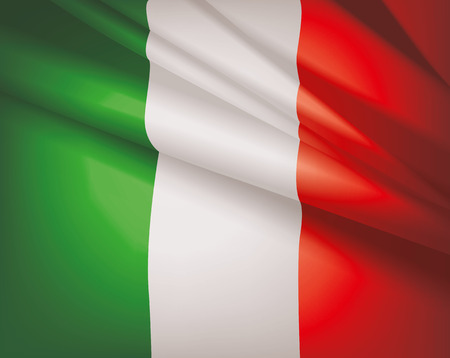 Waving flag of Italy, vector background