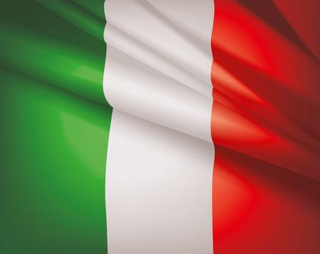 bandiera italiana: Sventolando la bandiera d'Italia, sfondo vettoriale