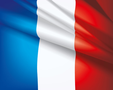 unification: Waving flag of France, vector beautiful background