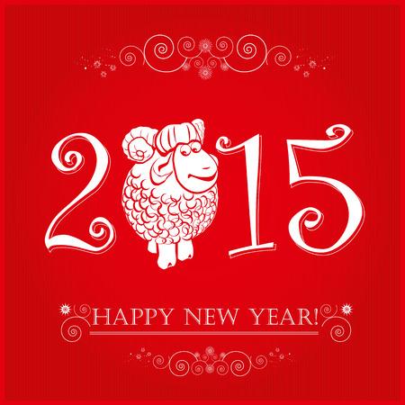 Funny juhokat élénk piros háttér és Boldog Új Évet 2015. Chinese jelképe kecske 2015 évi ábra képes design. Illusztráció