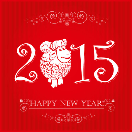 Funny sheep on bright red background and Happy new year 2015. Chinese symbol vector goat 2015 year illustration image design. Vector