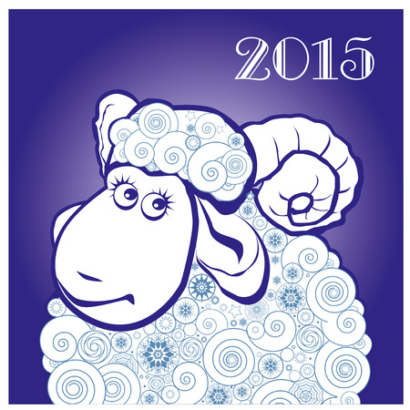 Funny sheep on blue background. Merry Christmas and Happy new year. Greeting card. Chinese symbol vector goat 2015 year illustration image design. Greeting card.
