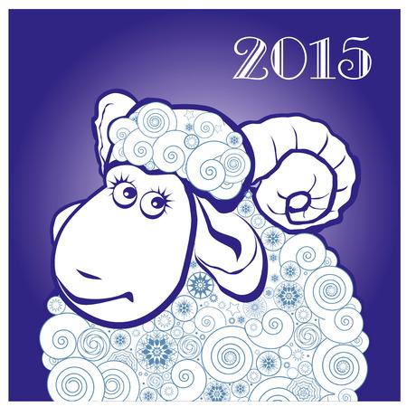 Vicces juhok a kék háttér. Boldog karácsonyt és boldog új évet. Üdvözlőlap. Kínai szimbóiumvektor kecske 2015. év illusztráció arculattervezés. Üdvözlőlap. Illusztráció