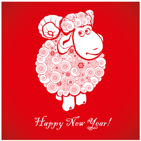 Funny sheep on bright red background and Happy new year 2015. Chinese symbol vector goat 2015 year illustration image design. Greeting card. Vector