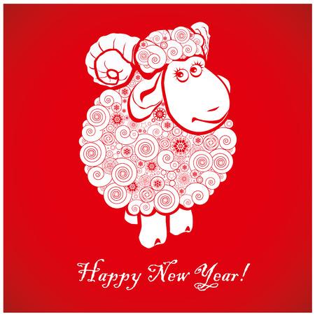 Vicces juhok élénk piros háttér és Boldog Új Évet 2015 kínai szimbóiumvektor kecske 2015. év illusztráció arculattervezés. Üdvözlőlap. Illusztráció