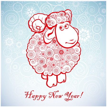 Funny sheep on white background of Snowflakes. Merry Christmas and Happy new year. Greeting card. Chinese symbol vector goat 2015 year illustration image design. Greeting card.