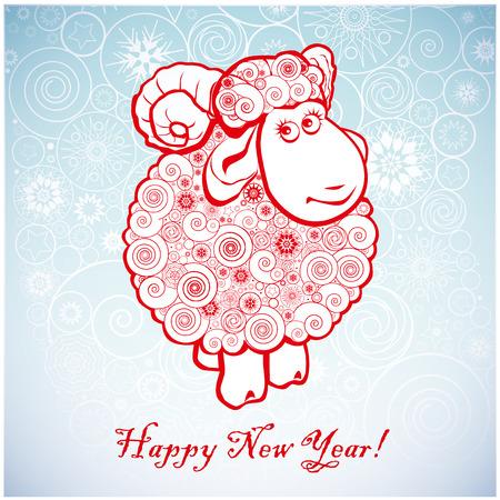 Vicces juh fehér háttér hópelyhek. Boldog karácsonyt és boldog új évet. Üdvözlőlap. Kínai szimbóiumvektor kecske 2015. év illusztráció arculattervezés. Üdvözlőlap.
