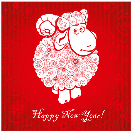 Funny sheep on bright red background and Happy new year 2015