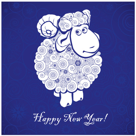 Funny sheep on blue background and Happy new year 2015