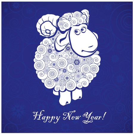 happy new year stamp: Ovejas divertidas sobre fondo azul y Feliz a�o nuevo 2015