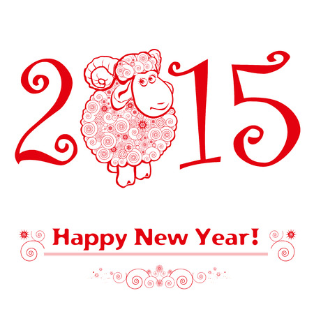 Funny sheep on white background and Happy new year 2015. Chinese symbol vector goat 2015 year illustration image design. Vector