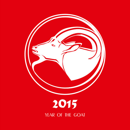 Stylizing Goats head isolated on red background. Chinese symbol vector goat 2015 year on red background. New year 2015 icon.