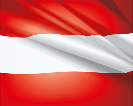 Hullámzó zászló Ausztria, vektor gyönyörű háttér Illusztráció