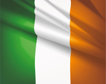 Waving flag of Ireland, vector beautiful background