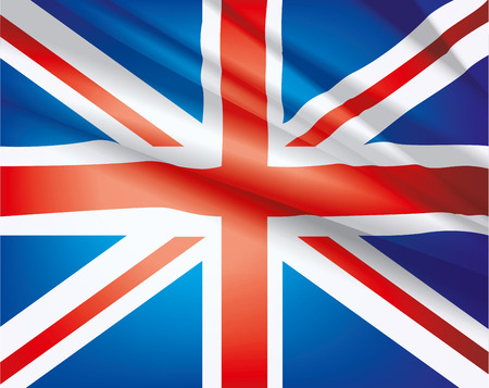 United Kingdom flag waving in the wind, vector beautiful background