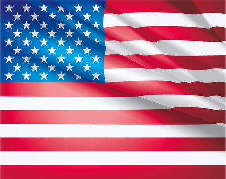 American Flag for Independence Day. USA flag waving in the wind, vector beautiful background.