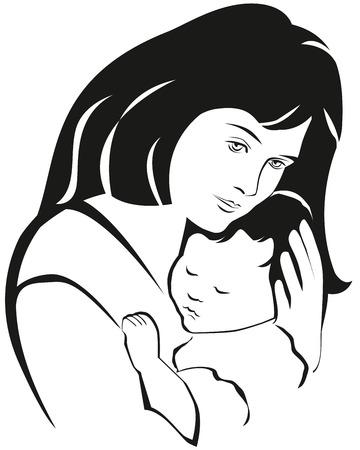 Anya és a baba szimbólum, kézzel rajzolt sziluettje. Boldog Anyák napi ünnepség.