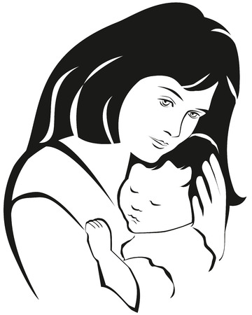 born saint: Mother and baby symbol, hand drawn silhouette. Happy Mothers Day celebration.