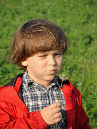 Gyönyörű kisfiú fúj pitypang. Boldogság, divatos fogalom.