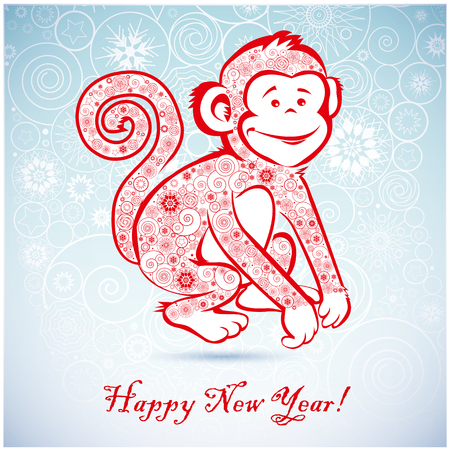 Funny monkey on blue background and Happy new year 2016. Chinese symbol vector monkey 2016 year illustration image design. Greeting card.