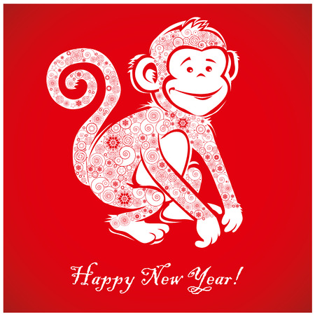 Funny monkey on bright red background and Happy new year 2016. Chinese symbol vector monkey 2016 year illustration image design. Greeting card.