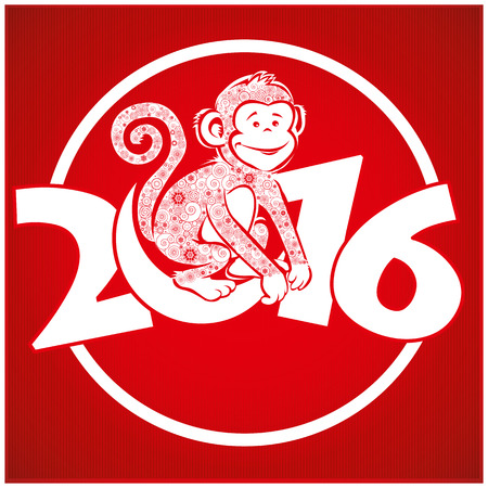 monkey face: Funny monkey on bright red background and Happy new year 2016. Chinese symbol vector monkey 2016 year illustration image design. Greeting card.