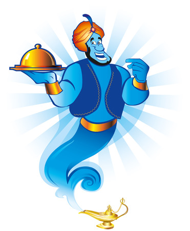 Magic genie at your service. A genie appears, ready to grant you three wishes! Stock Illustratie