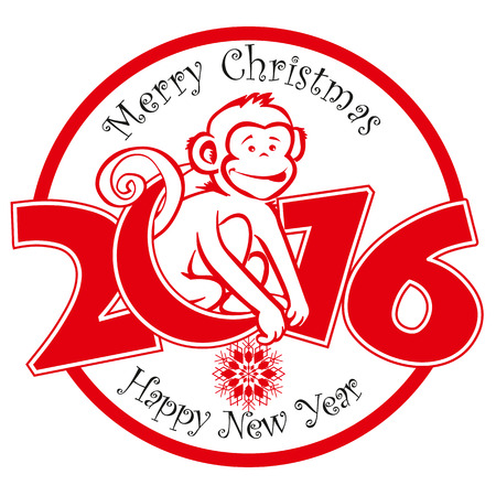 funny: Funny monkey on bright red background and Happy new year 2016. Chinese symbol vector monkey 2016 year illustration image design. Greeting card.