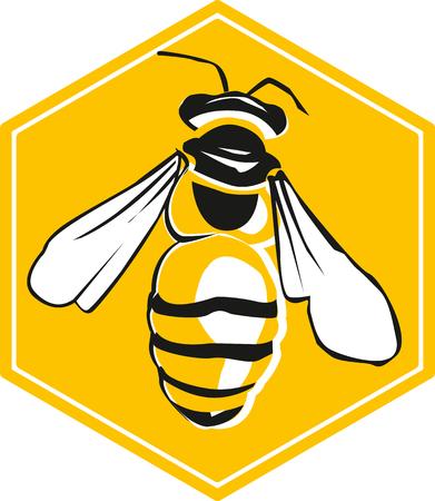 Vecteur abeille et nid d'abeilles, illustration vectorielle d'abeille, icône. Banque d'images - 47218662