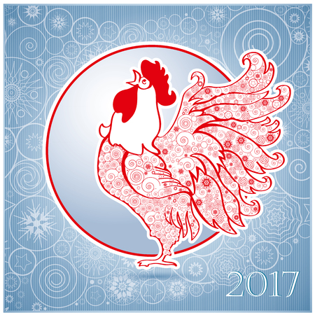 Rooster on  blue  background. Chinese New Year of the Rooster. Red cock - symbol of 2017. Merry Christmas and Happy new year. Greeting card.