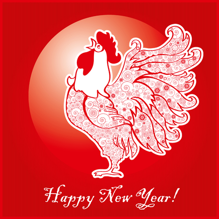 Rooster on bright red background. Chinese New Year of the Rooster. Red cock - symbol of 2017. Merry Christmas and Happy new year. Greeting card.