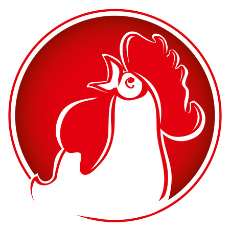 Silhouette of the cock head. Rooster on bright red background. Chinese New Year of the Rooster. Red cock - symbol of 2017. Head of rooster in red color.