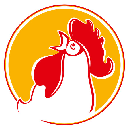 Silhouette of the cock head. Illustration of a chicken rooster crowing viewed from the side set inside circle on isolated background. Chinese New Year of the Rooster. Head of rooster in red color. Vectores