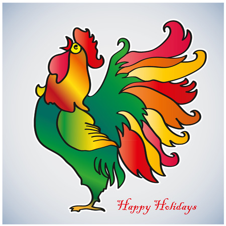 Fiery Rooster. Chinese New Year of the Rooster. Red cock - symbol of 2017. Merry Christmas and Happy new year. Greeting card.