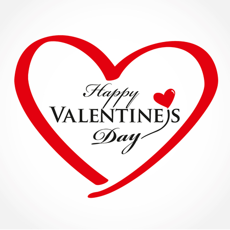 Valentines day card with heart. Vector Lettering design. Vectores