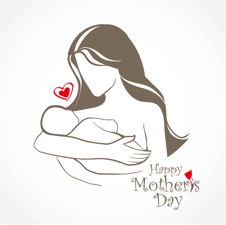 Mother and baby stylized vector symbol, mom hugs her child. Hand drawn silhouette. Happy Mothers Day celebration. Vector Lettering design. Illustration