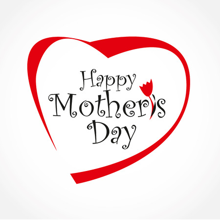 Mothers day card with heart. Vector Lettering design. Happy Mothers Day celebration.