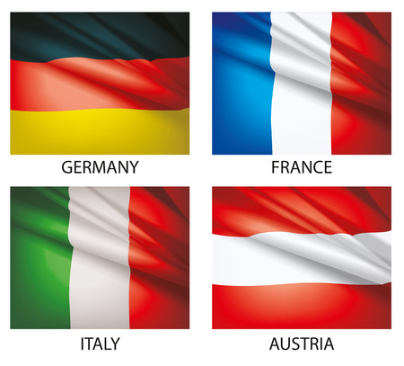 Flags of the world vector. Flags waving in the wind. Set of world flags. Vector illustration. Flag of Germany. Flag of Austria. Flag of France. Flag of Italy. Illustration
