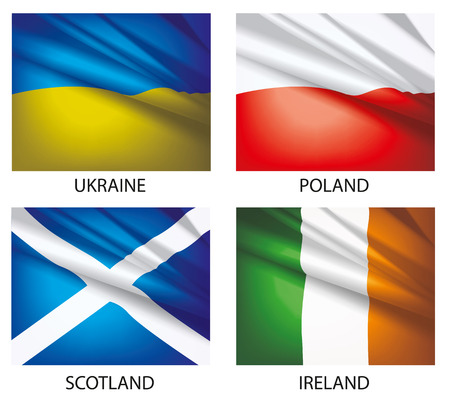 Flags of the world vector. Flags waving in the wind. Set of world flags. Vector illustration. Flag of Ukraine. Flag of  Poland. Flag of Scotland. Flag of Ireland. Illustration