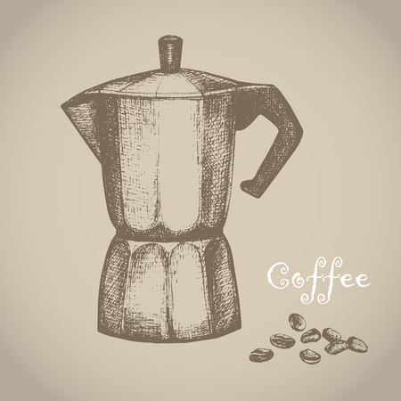 The black ink drawing of coffee maker isolated on white background. Vector illustration. Hand-drawn sketch style. Kitchen utensils sketch.